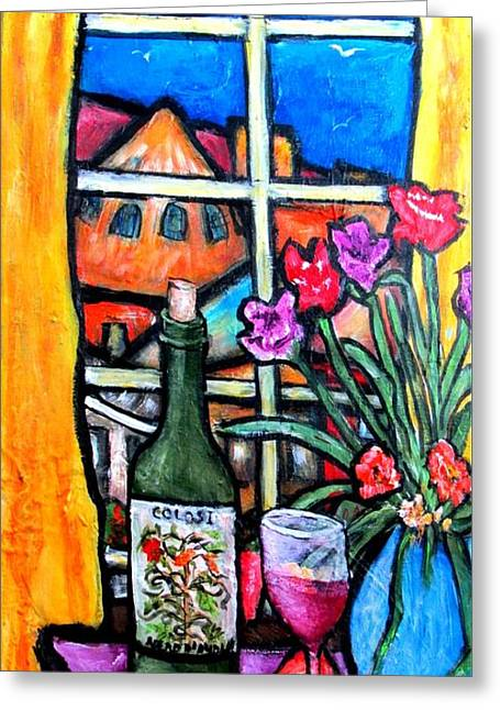 Indoor Still Life Paintings Greeting Cards - Colosi wine with flowers Greeting Card by Chaline Ouellet