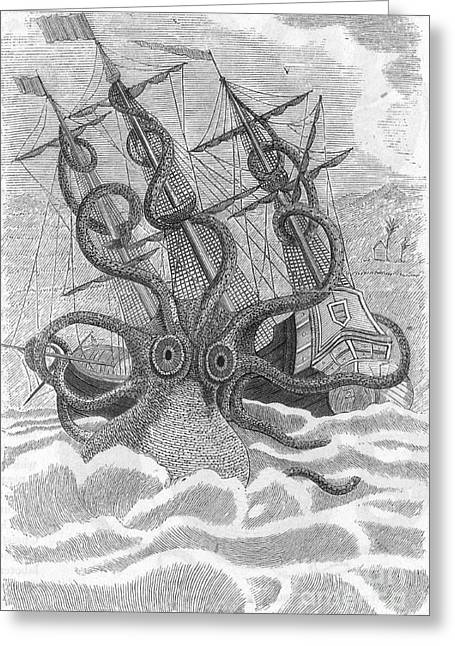 Marine Creatures Greeting Cards - Colossal Octopus Attacking Ship, 1801 Greeting Card by Photo Researchers