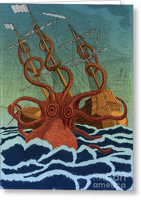 Colossal Octopus Attacking Ship 1801 Greeting Card by Science Source