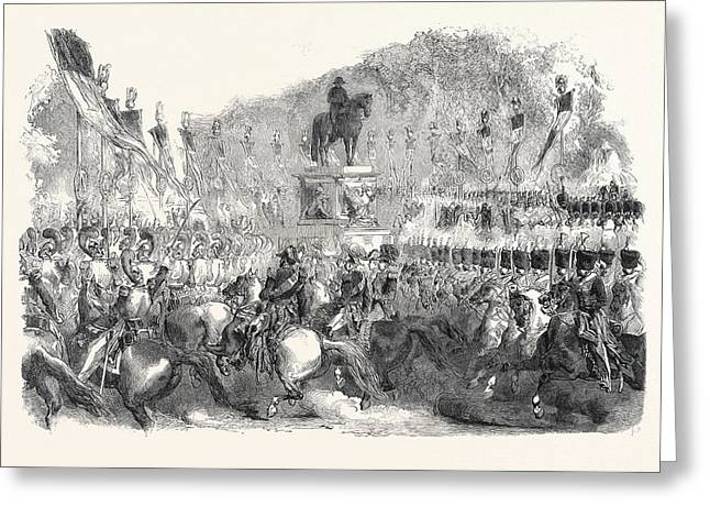 Colossal Statue Of Napoleon, In The Champs Elysees Greeting Card by English School