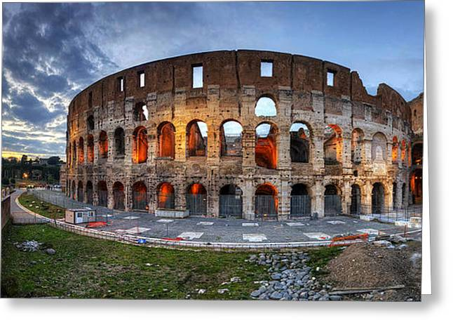 Popular Art Greeting Cards - Colosseo Panorama Greeting Card by Yhun Suarez
