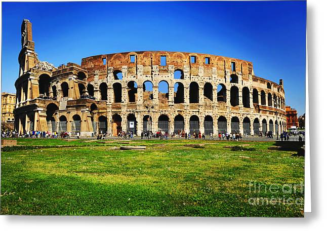 Architecture Framed Prints Greeting Cards - Colosseo Greeting Card by Stefano Senise