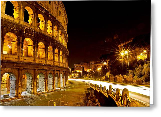 Ancient Ruins Greeting Cards - Colosseo Greeting Card by Walt  Baker
