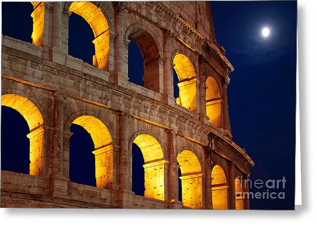 Roman Streets Greeting Cards - Colosseum and moon Greeting Card by Inge Johnsson