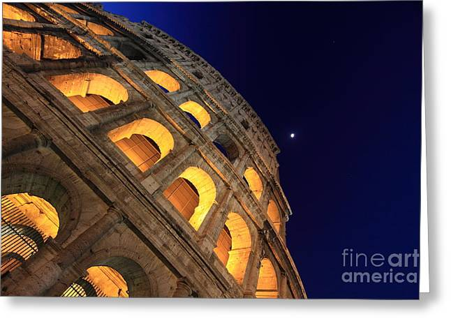 Architecture Framed Prints Greeting Cards - Colosseum at Night Greeting Card by Stefano Senise