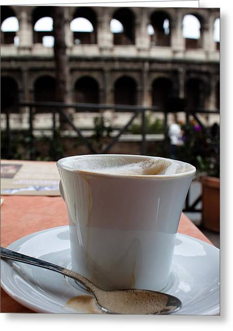 Teaspoon Greeting Cards - Colosseum Cappuccino Greeting Card by John Daly