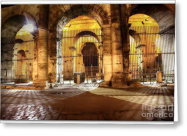 Domitian Greeting Cards - Colosseum Lights Greeting Card by Stefano Senise