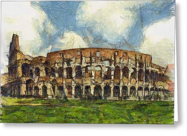 European work Drawings Greeting Cards - Colosseum pencil Greeting Card by Sophie McAulay