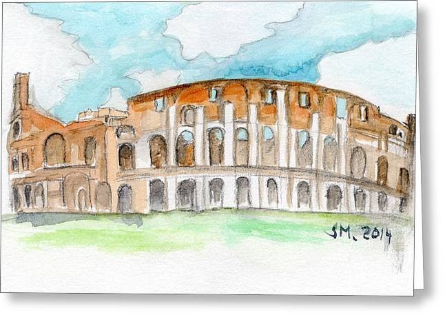 Outdoor Theater Mixed Media Greeting Cards - Colosseum watercolour sketch Greeting Card by Sophie McAulay