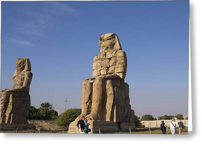 Hathor Greeting Cards - Colossi of Memnon Egypt Greeting Card by Brenda Kean