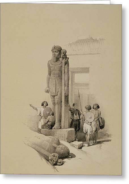 Colossus In Front Of The Temple Of Wady Sabona, Ethiopia  Greeting Card by David Roberts