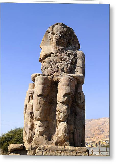 Hathor Greeting Cards - Colossus of Memnon Egypt Greeting Card by Brenda Kean