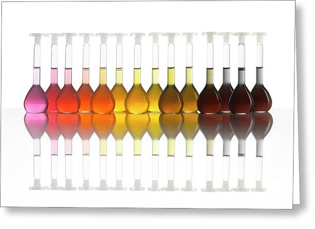 Colour Range Of Universal Indicator Greeting Card by Science Photo Library