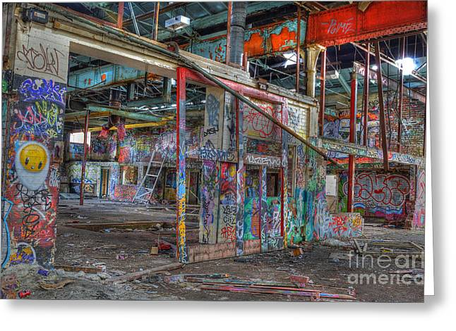 Coloured Dereliction Greeting Card by David Birchall