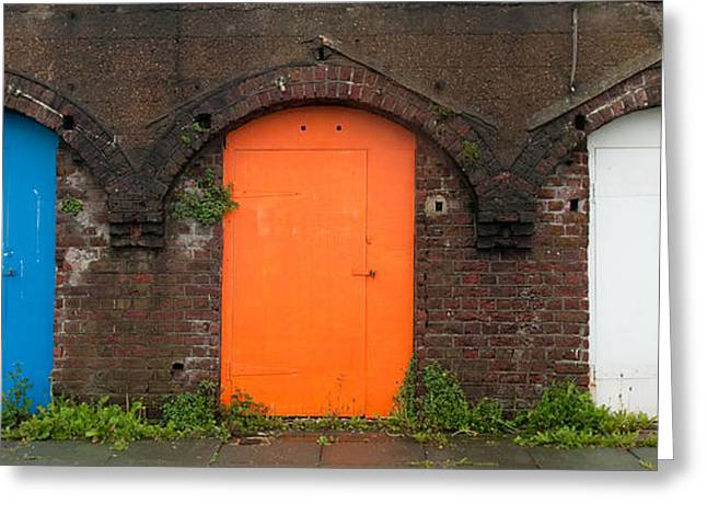 Entrance Door Greeting Cards - Coloured doors Greeting Card by Andrew Periam
