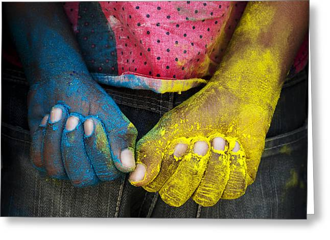 Coloured Hands Greeting Card by Tim Gainey