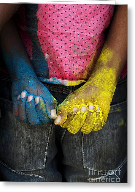 Fist Greeting Cards - Coloured Hands Greeting Card by Tim Gainey