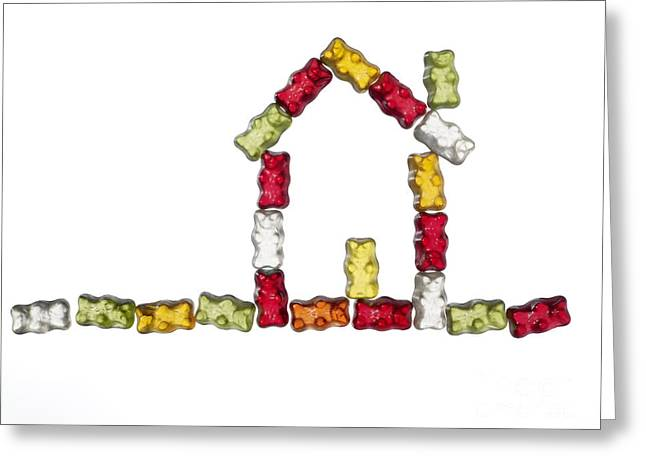Lebensmittel Greeting Cards - Coloured Jellybabies Formed As A House Greeting Card by Juergen Ritterbach