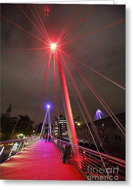 Charing Cross Bridge Greeting Cards - Coloured Lights On Bridge In London Greeting Card by Ria Novosti