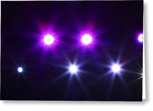Merging Greeting Cards - Coloured stage lights Greeting Card by Oren Shalev