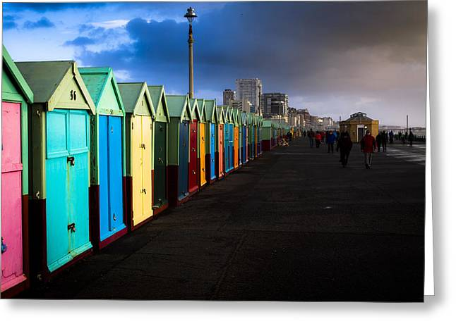 Wintry Greeting Cards - Colourful beach huts Greeting Card by Matthew Bruce