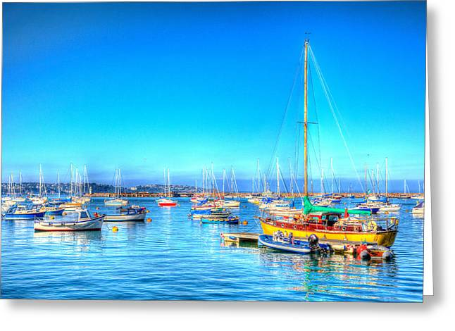 Surreal Landscape Greeting Cards - Colourful boats and yachts on the sea Greeting Card by Michael Charles