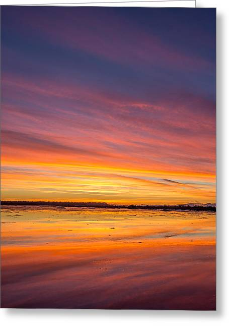 Boundary Waters Greeting Cards - Colourful Boundary Bay Sunset  Greeting Card by Pierre Leclerc Photography