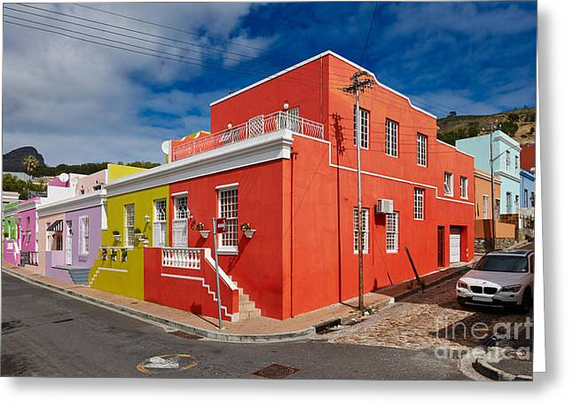 Viertel Greeting Cards - colourful buildings in Bo-Kaap Greeting Card by Juergen Ritterbach