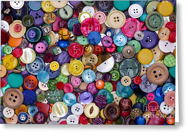 Cloth Greeting Cards - Colourful Buttons Greeting Card by Tim Gainey