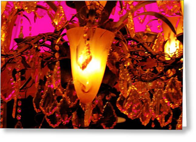 Gathering Greeting Cards - Colourful Chandelier Greeting Card by Optical Playground By MP Ray