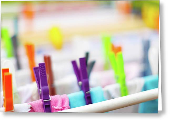Colourful Clothes Pegs Greeting Card by Wladimir Bulgar