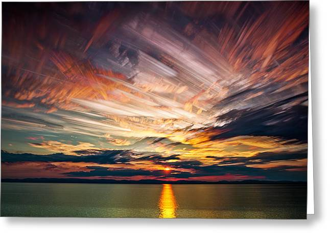 Colourful Cloud Collision Greeting Card by Matt Molloy