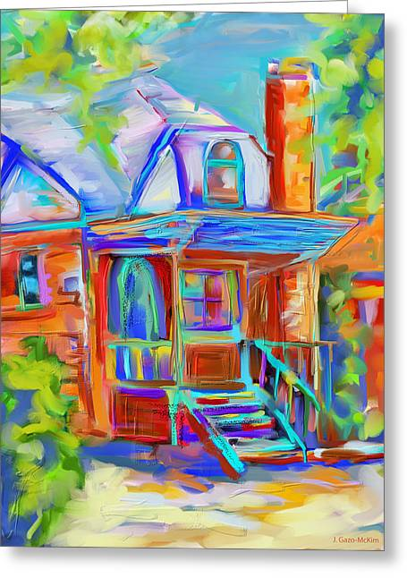 Residential Structure Digital Greeting Cards - Colourful Cottage Greeting Card by Jo-Anne Gazo-McKim