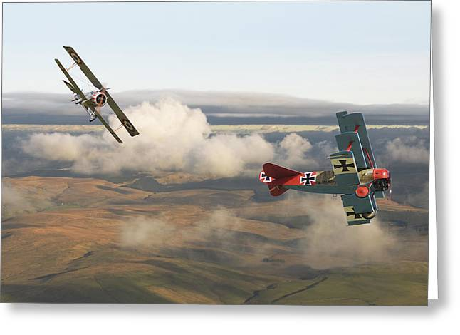 Triplane Greeting Cards - Colourful Encounter Greeting Card by Pat Speirs