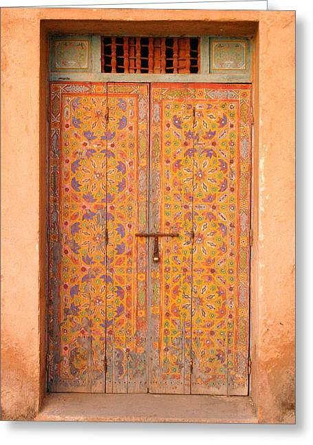 Rabat Greeting Cards - Colourful Entrance Door Sale Rabat Morocco Greeting Card by Ralph A  Ledergerber-Photography