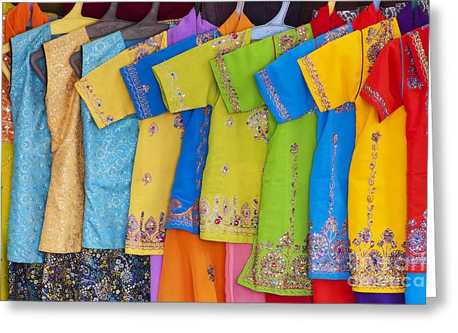 Indian Ethnicity Greeting Cards - Colourful girls dresses in India Greeting Card by Tim Gainey