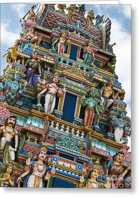 Sculpture Indians Greeting Cards - Colourful Hindu Temple Gopuram Statues Greeting Card by Tim Gainey