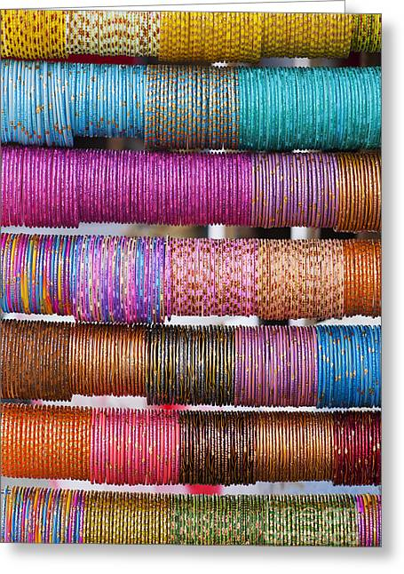 Bracelet Greeting Cards - Colourful Indian Bangles Greeting Card by Tim Gainey