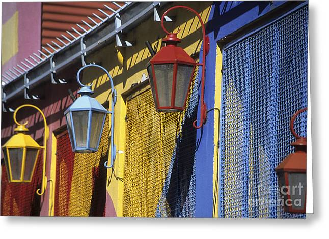 James Brunker Greeting Cards - Colourful lamps La Boca Buenos Aires Greeting Card by James Brunker