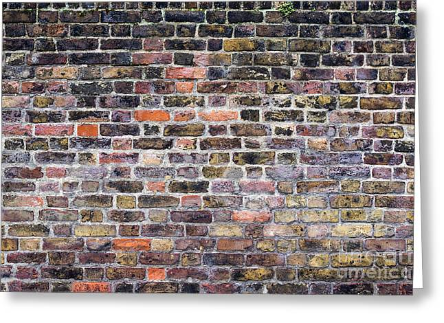 Alga Greeting Cards - Colourful London Brick Wall Greeting Card by Tim Gainey