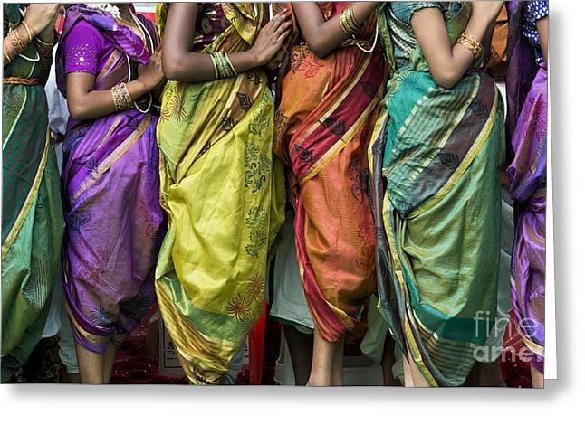 Coloured Greeting Cards - Colourful Sari Pattern Greeting Card by Tim Gainey