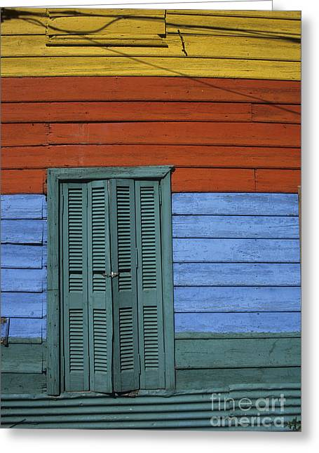 Yellow Line Greeting Cards - Colourful shutters La Boca Buenos Aires Greeting Card by James Brunker