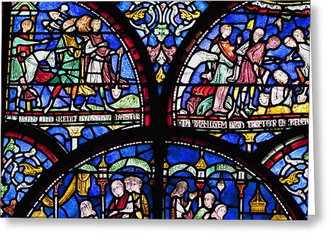 Colourful Stained Glass Window In Greeting Card by Terence Waeland
