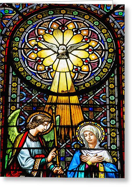 Glasswork Greeting Cards - Colourful Stained Glass Windows Greeting Card by Dosfotos