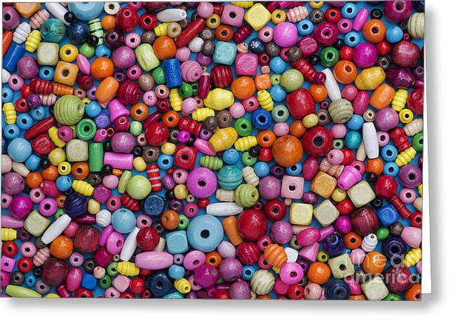 Vivid Colour Greeting Cards - Colourful Wooden Beads Greeting Card by Tim Gainey