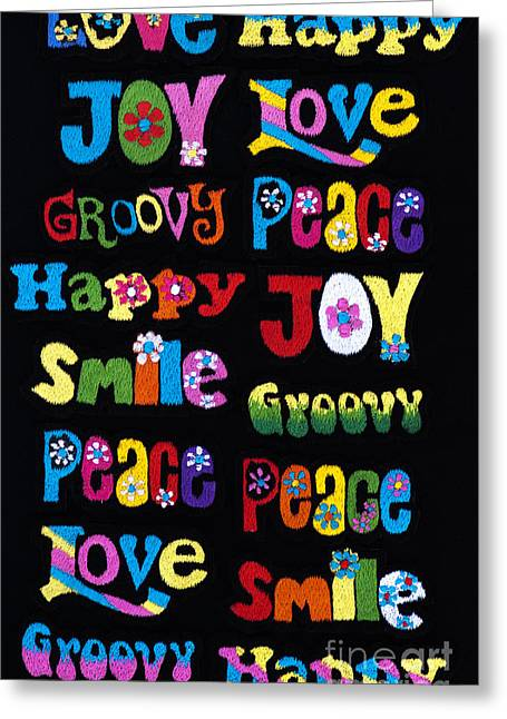Embroidery Greeting Cards - Colourful Words Greeting Card by Tim Gainey