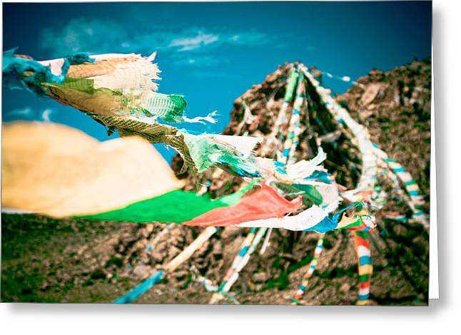 Rocky Mountains Greeting Cards Greeting Cards - Colourfull praying buddhist flags lungta and mountain at background Greeting Card by Raimond Klavins