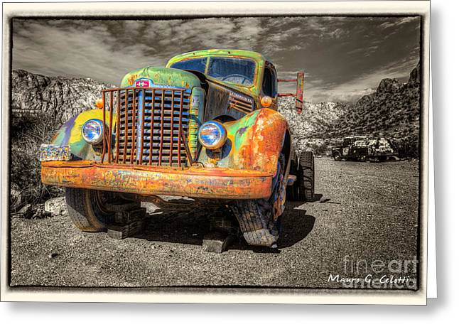 Abstract Digital Pyrography Greeting Cards - Colourfull Truck Greeting Card by Mauro Celotti