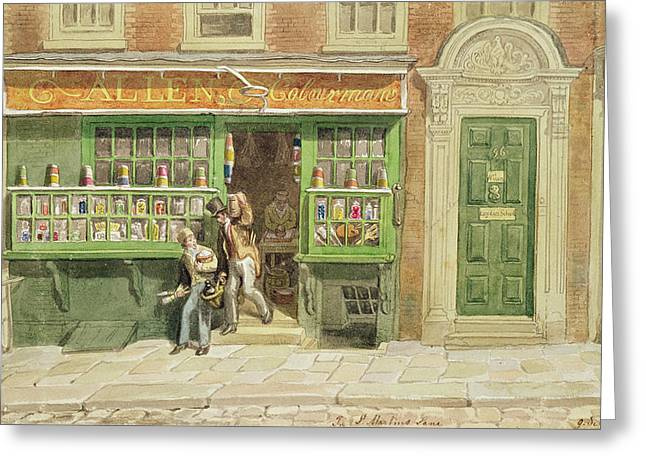 Shop Window Greeting Cards - Colourmans Shop, St Martins Lane, 1829 Wc On Paper Greeting Card by George the Elder Scharf