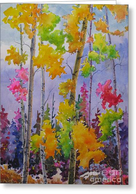 Park Scene Paintings Greeting Cards - Colours Of Fall Greeting Card by Mohamed Hirji
